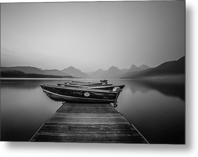 Black And White // Lake Mcdonald, Glacier National Park Metal Print