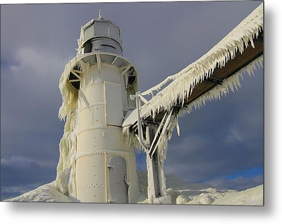Lake Michigan Lighthouse Frozen In Winter Metal Print by Dan Sproul