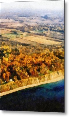 Lake Michigan Shoreline In Autumn Metal Print by Michelle Calkins