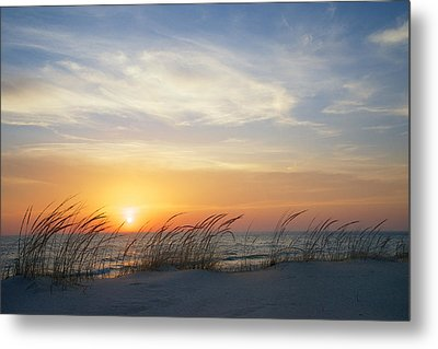 Lake Michigan Sunset With Dune Grass Metal Print by Mary Lee Dereske