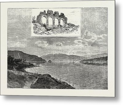 Lake Mjsen And The Ruins Of Hamar Cathedral Metal Print by Norwegian School