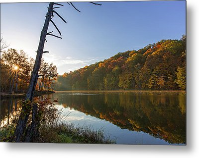 Lake Ogle In Autumn In Brown County Metal Print by Chuck Haney