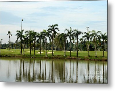 Lake Sand Traps Palm Trees And Golf Course Singapore Metal Print by Imran Ahmed