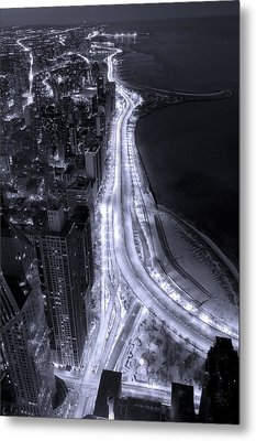 Lake Shore Drive Aerial  B And  W Metal Print by Steve Gadomski