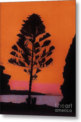 Metal Print featuring the drawing Lake Sunset by D Hackett