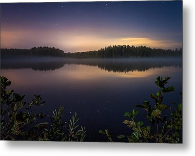 Lake View At Night Metal Print