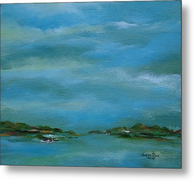 Metal Print featuring the painting Lake Wallenpaupack Early Morning by Judith Rhue