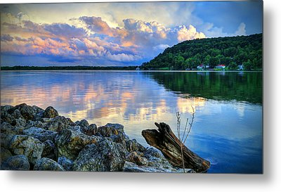 Metal Print featuring the photograph Lake White Sundown by Jaki Miller