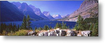 Lake With Mountain Range Metal Print