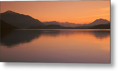 Lake Zug In The Evening Mt Rigi & Mt Metal Print by Panoramic Images