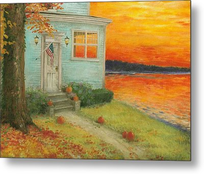 Metal Print featuring the painting Lakehouse Fall Nocturne by Judith Cheng