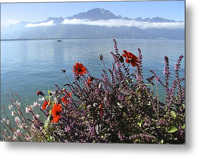 Lakeside Flower Beds Metal Print by Colleen Williams
