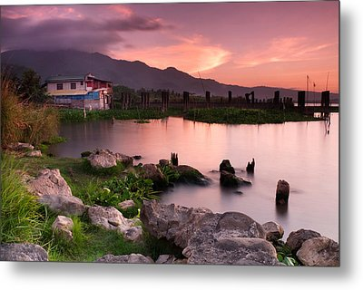 Lakeside Shanty At Dusk Metal Print