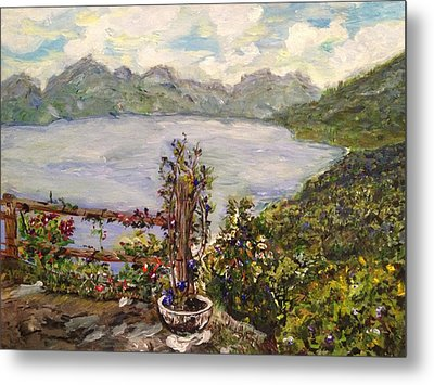 Metal Print featuring the painting Lakeview by Belinda Low