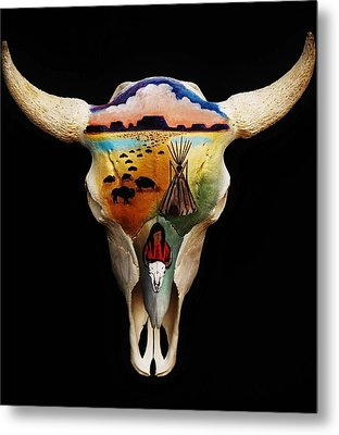 Lakota Bison Skull Metal Print by Joy Bradley