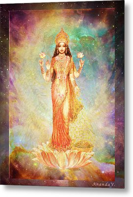 Lakshmi Floating In A Galaxy Metal Print