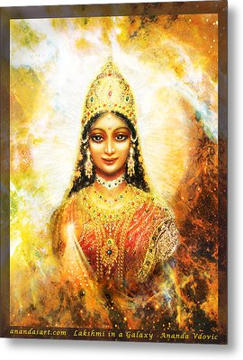 Metal Print featuring the mixed media Lakshmi Goddess Of Abundance In A Galaxy by Ananda Vdovic