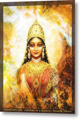 Lakshmi Goddess Of Abundance In A Galaxy Metal Print by Ananda Vdovic