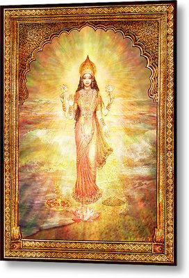Lakshmi The Goddess Of Fortune And Abundance Metal Print by Ananda Vdovic