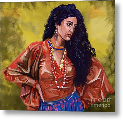 Metal Print featuring the painting Lala Gypsy Girl by Tim Gilliland