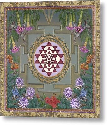 Lalita's Garden Sri Yantra Metal Print