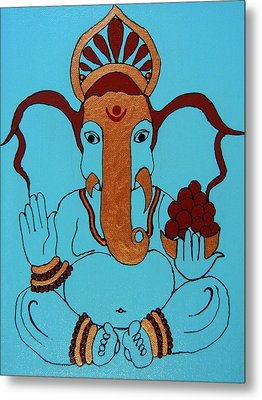 19 Lambakarna-large Eared Ganesha Metal Print by Kruti Shah