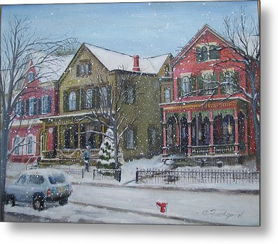 Lambertville In The Snow Metal Print by Oz Freedgood