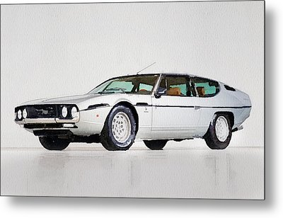 Lamborghini Espada Watercolor Metal Print by Naxart Studio