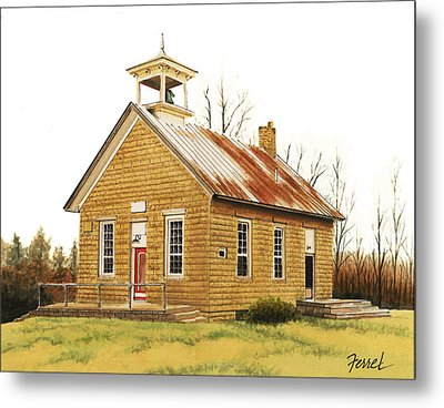 Metal Print featuring the painting Lambson School by Ferrel Cordle