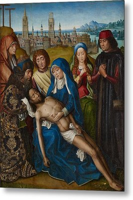Lamentation With Saint John The Baptist And Saint Catherine Of Alexandria Metal Print by Master of the Legend of Saint Lucy