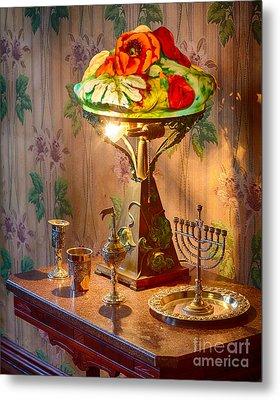Lamp And Menorah Metal Print by Inge Johnsson