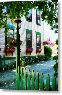 Lamp And Window Boxes Metal Print by Susan Savad