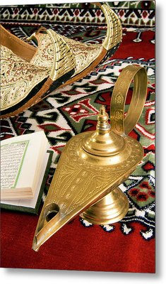 Lamp Of Aladdin, Arabic Shoes, Holy Metal Print by Nico Tondini