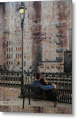 Lamp Post And Couple On Bench Metal Print