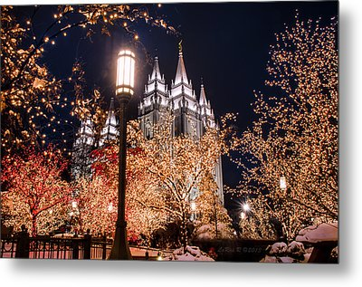 Lamp Post Slc Temple Metal Print by La Rae  Roberts