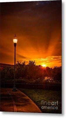 Lamp Post Sunset Metal Print