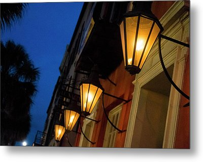 Lamps Lining The Streets At Duck Metal Print