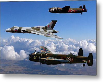 Lancaster Bombers And Vulcan Xh558 Metal Print by Ken Brannen