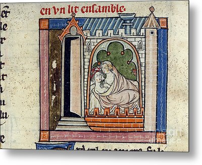 Lancelot And Guinevere In Bed Metal Print