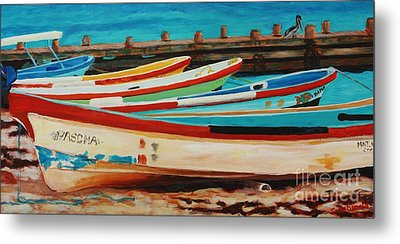 Metal Print featuring the painting Lanchas Mexicanas by Janet McDonald