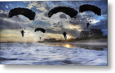 Landing At Sunset Metal Print