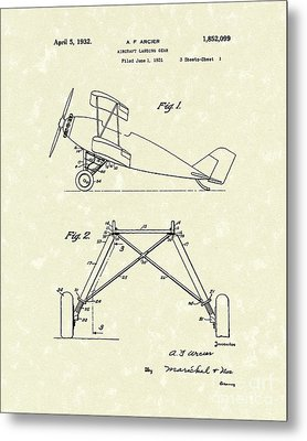 Landing Gear 1932 Patent Art Metal Print