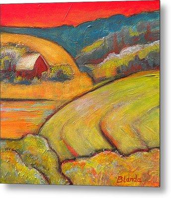 Landscape Art Orange Sky Farm Metal Print by Blenda Studio