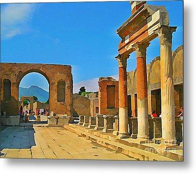 Landscape At Pompeii Italy Ruins Metal Print by John Malone