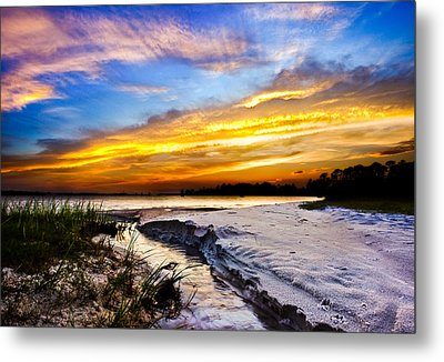 Metal Print featuring the photograph Landscape Beach Sunset-golden Sun Rays-stream To The Sea by Eszra