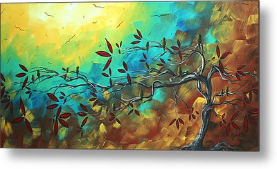 Landscape Bird Original Painting Family Time By Madart Metal Print by Megan Duncanson