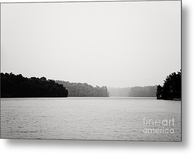 Landscape Black And White Fog Metal Print