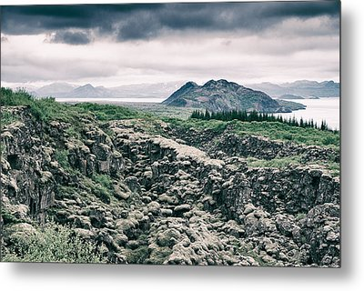 Landscape In Iceland - Lava Field And Lake Metal Print