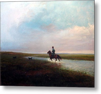 Metal Print featuring the painting Landscape by Ji-qun Chen