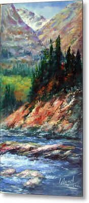 Metal Print featuring the painting Landscape by Laila Awad Jamaleldin